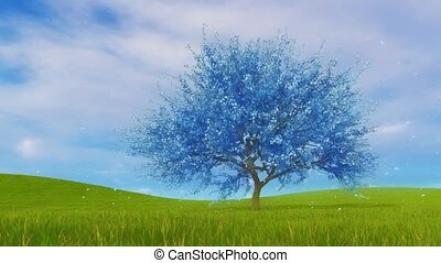 Surreal blue cherry tree in blossom 3D animation - Fantasy...