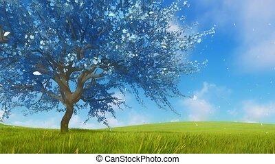 Surreal blue sakura cherry tree in full blossom 3D - Surreal...
