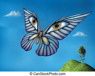 Surreal butterfly - Stylized surreal butterfly flying above...