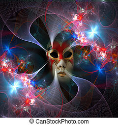 Surreal carnival mask and fractal pattern from a grid and...