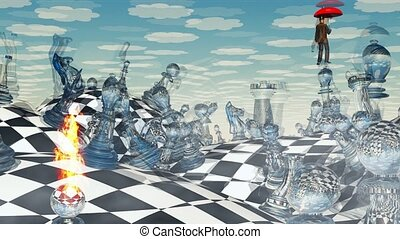 Surreal chess landscape and hovering man with red umbrella