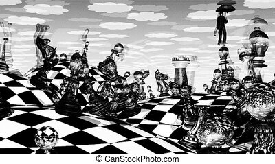 Surreal Chess - Surreal chess landscape and hovering man ...