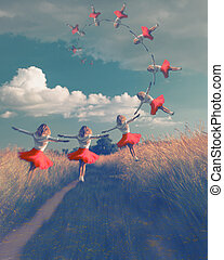 Digital Composite Image Of Woman Wearing red Dress flying or jumping In Air Over Field. Collage with beauty young woman, vintage