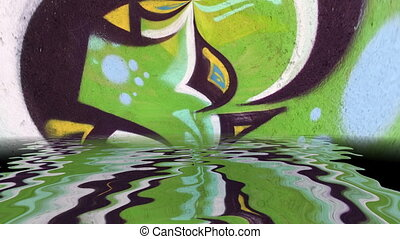 Surreal colorful abstract background reflected in water