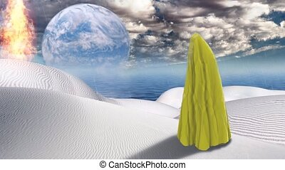 Surreal desert. Figure of man covered with yellow cloth. Planet Zen