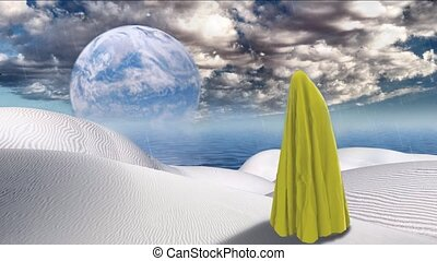 Mystic figure covered by yellow cloth. Planet reflected in ...