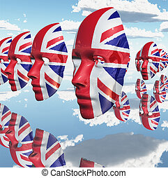 Great Britain - Surreal digital art. Woman's masks in Great...