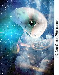 Surreal Eye and Clock