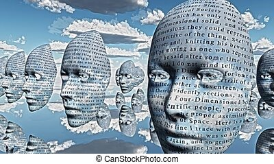 Surreal faces with text hovers in the sky