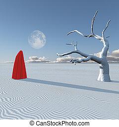 Surreal figure in desert