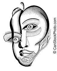 Surreal hand drawing faces, abstract template with black...