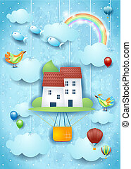 Surreal hot air balloon on sky background with flying fishes