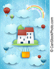 Surreal hot air balloon on sky background with hanging clouds