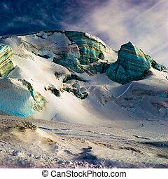 Surreal ice structures in high alps. Zermatt, Switzerland.