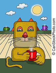 Surreal illustration of a square face cat