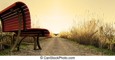 park bench on the way - surreal image of park bench on the...
