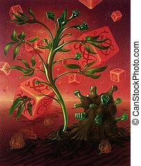 surreal, imagen, con, dados, y, plantas