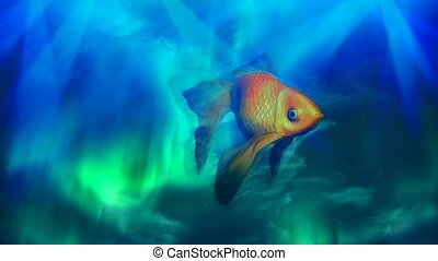 Golden fish - Surreal imagination. Golden fish hovers in ...