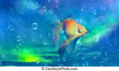 Golden fish in blue sky - Surreal imagination. Golden fish ...