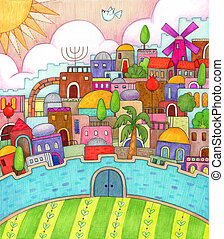 Detailed, colorful illustration of surreal Jerusalem made with markers and colored pencils.