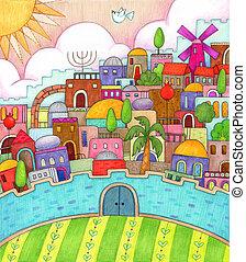 Surreal Jerusalem - Detailed, colorful illustration of...