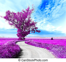 Surreal landscape and tree - Surreal tree and...