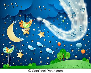 Surreal landscape by night with wave of sparkles and musical notes
