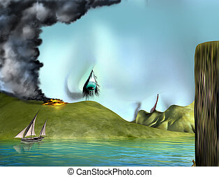 Surreal landscape face - Original illustration of a surreal...