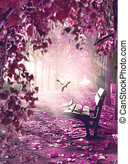 Surreal landscape. Fantasy space in park and wood bench with white doves.