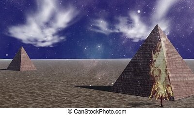 Surreal landscape. Pyramids and burning tree