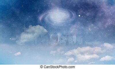 Spinning galaxy over Stonehenge