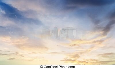 Surreal landscape. Stonehenge in the clouds. Animation