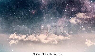 Surreal landscape. Stonehenge in the fog animation