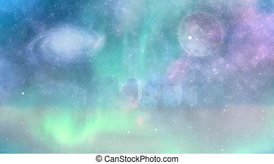 Surreal landscape. Stonehenge in the purple fog. Moon and galaxy in vivid sky
