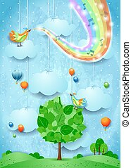 Surreal landscape with big tree, rainbow colors and musical notes