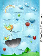 Surreal landscape with flying umbrella and fishes