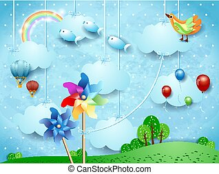 Surreal landscape with hanging pinwheels, balloons, birds and flying fishes. Vector illustration eps10