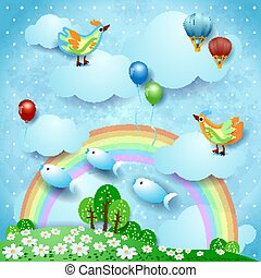 Surreal landscape with rainbow, balloons, birds and flying fishes. Vector illustration eps10