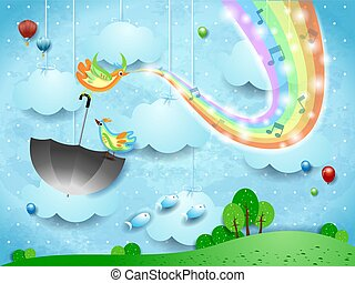 Surreal landscape with rainbow colors, music and birds