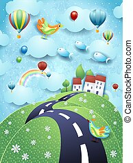 Surreal landscape with road, village and flying fishes