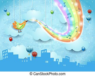 Surreal landscape with skyline, music, bird and rainbow colors