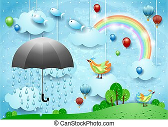 Surreal landscape with umbrella, balloons, birds and flying fishes. Vector illustration eps10