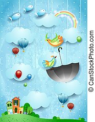 Surreal landscape with village, flying umbrella and fishes