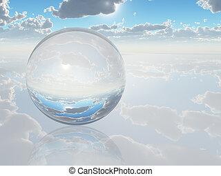surreal, landschaftsbild, mit, kristall, kugelförmig