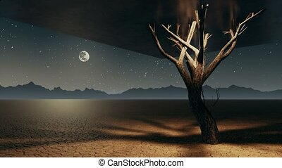 Surreal lonely cube tree in apocalyptic desert at night -...