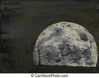 surreal, luna llena, il, pintura