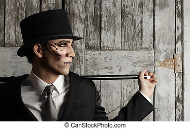 Surreal man in top hat - Fantastical stylized portrait of...