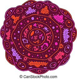 Surreal mandala with alien creatures and circles. Psychedelic colorful floral element. Fantastic flower. Abstract art for relaxation. Weird ilustration. Vector artwork