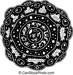 Surreal mandala with alien creatures and circles. Psychedelic coloring page for adults. Fantastic flower. Abstract art for relaxation. Weird ilustration. Vector artwork