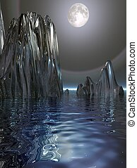 Surreal Moon and Ice - A surrealistic scene of a moon rising...